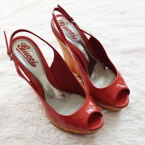 Gucci Patent Leather Raffia Wedge Sandals 8/8.5